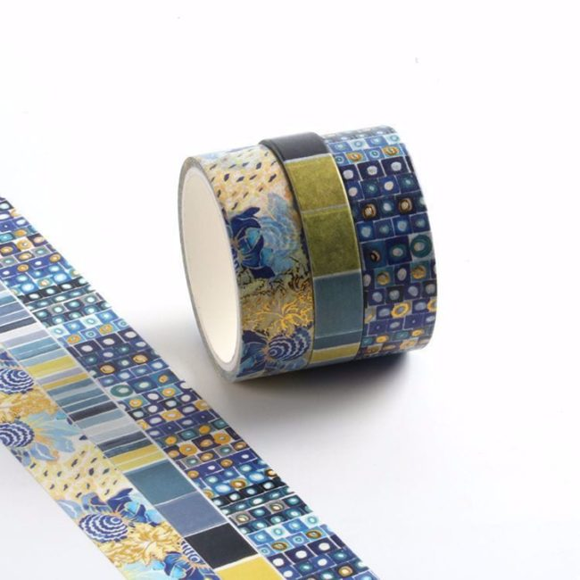 isa catto cool colors patterned washi tape