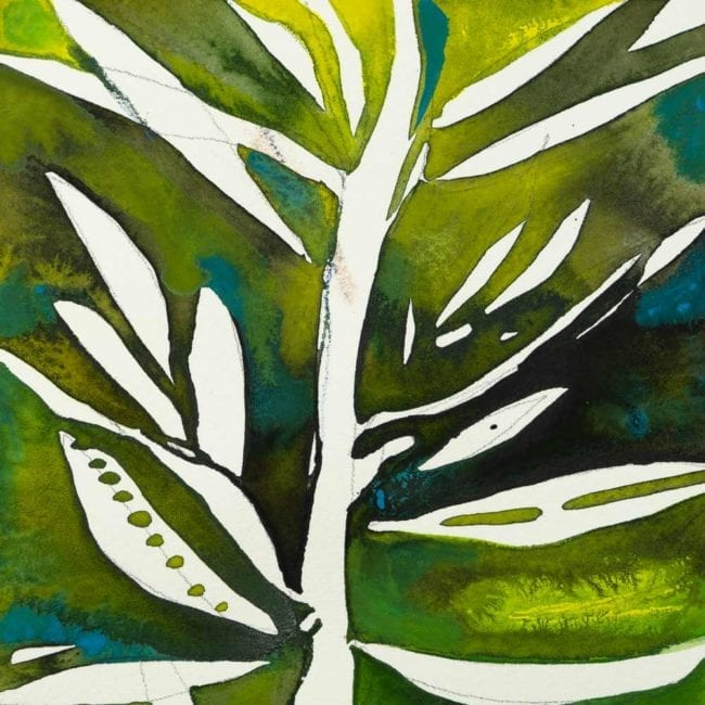 detail of white plant with green and blue watercolor background