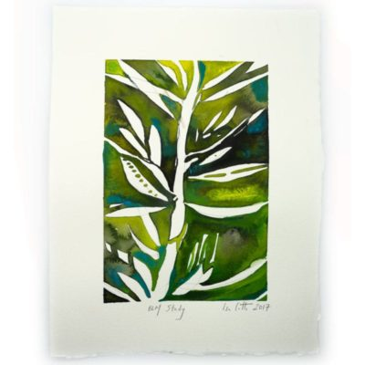 white plant with leaves and twigs with green background