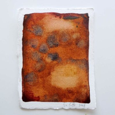 small brown watercolor painting with gray-blue splotches and bark texture