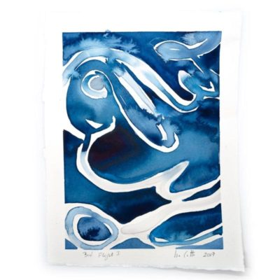 blue and white watercolor painting following a bird's swooping flight pattern