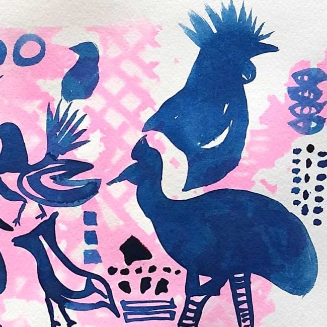 blue birds and shapes with a pink background