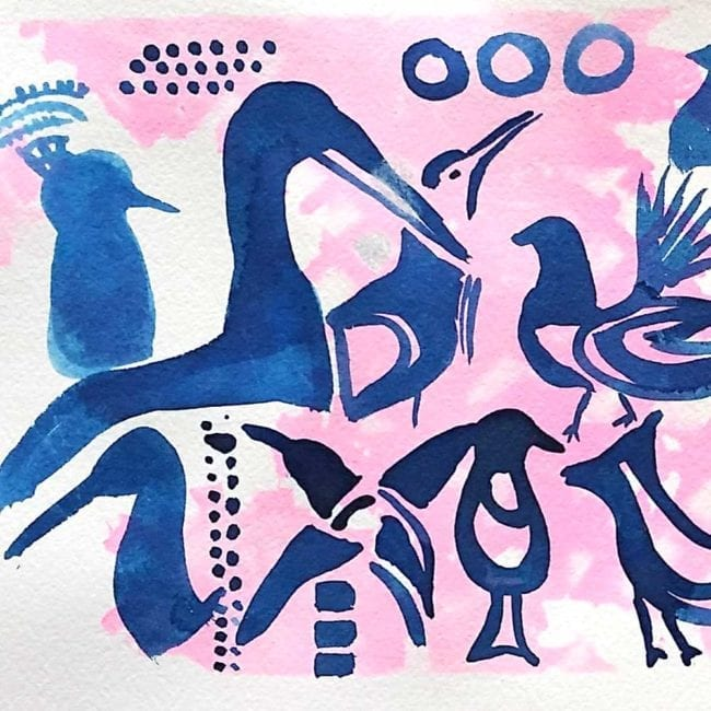 multiple different species of birds colored blue with pink background