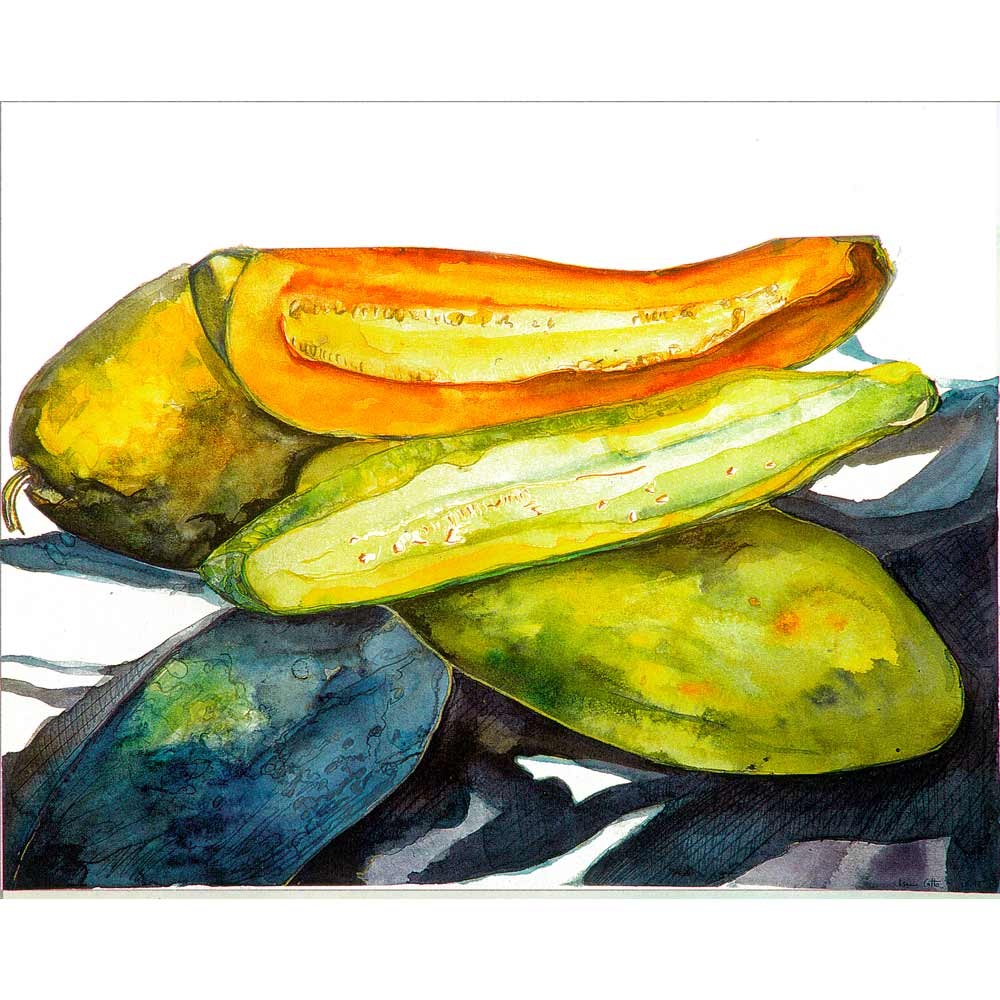 yellow, green, and blue gourds. Yellow gourd with a slice revealing the orange inside