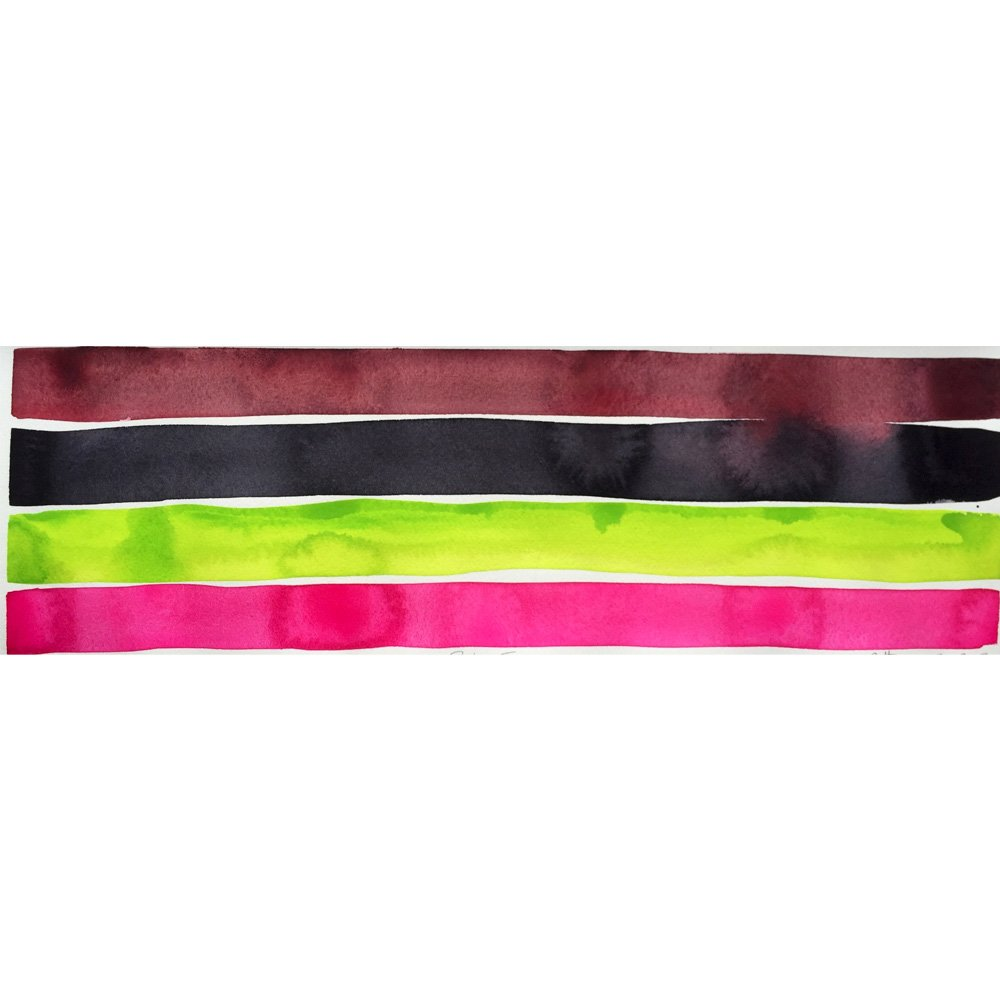 brown, black, bright green, and hot pink strips