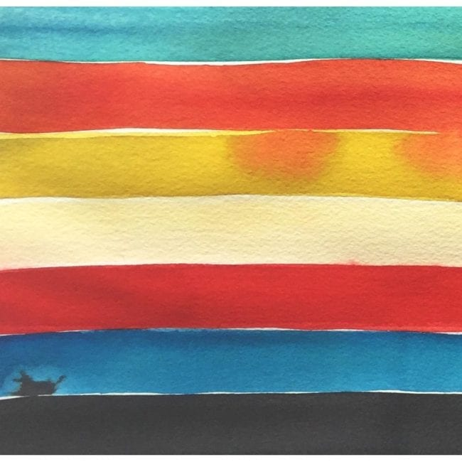 close up of a galapagos island watercolor painting color study with turquoise, orange, yellow, red, blue, and black horizontal stripes with the black strip bleeding into the blue stripe and the orange bleeding into the yellow