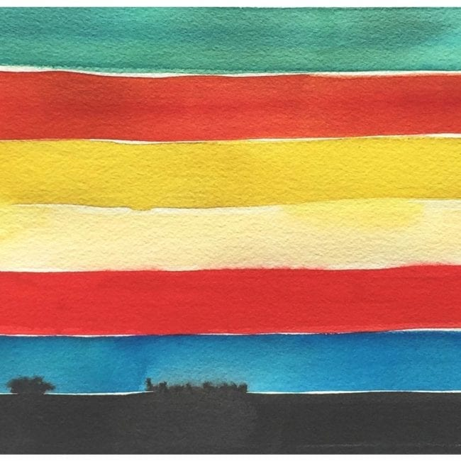 close up of a galapagos island watercolor painting color study with turquoise, orange, yellow, red, blue, and black horizontal stripes with the black stripe bleeding into the blue