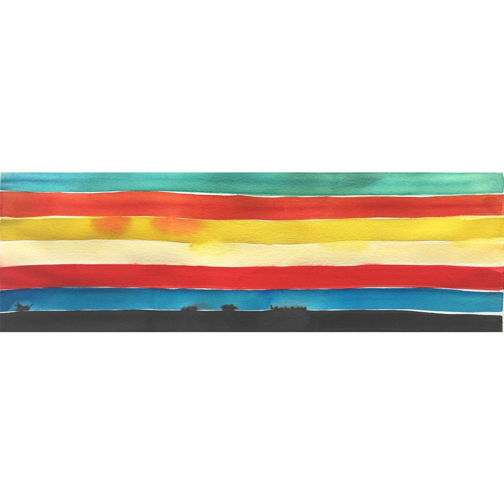 galapagos island watercolor painting color study with turquoise, orange, yellow, red, blue, and black horizontal stripes