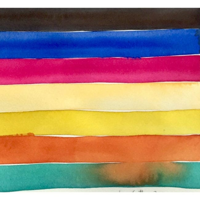 close up of a galapagos island watercolor painting of black, blue, pink, yellow, orange, and turquoise horizontal stripes with the orange stripe bleeding into the turquoise
