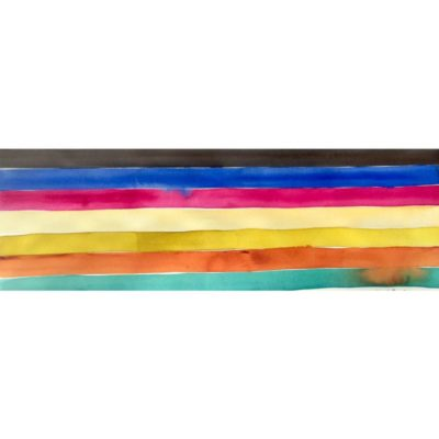 galapagos island watercolor painting color study of black, blue, pink, yellow, orange, and turquoise horizontal stripes