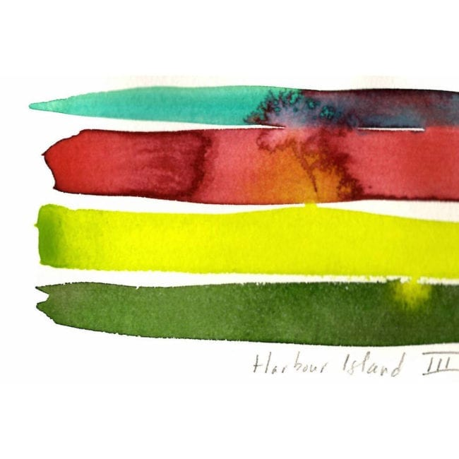 harbour island watercolor color study with a turquoise, red, yellow-green, and dark green stripe with the red strip bleeding into the turquoise with the title inscription visible
