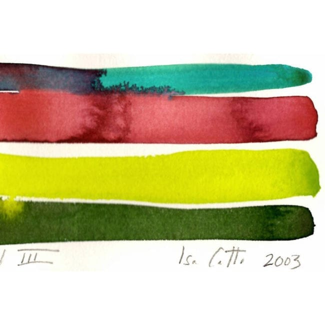 close up of a harbour island watercolor color study with a turquoise, red, yellow-green, and dark green stripe with the red strip bleeding into the turquoise with the artist's signature visible