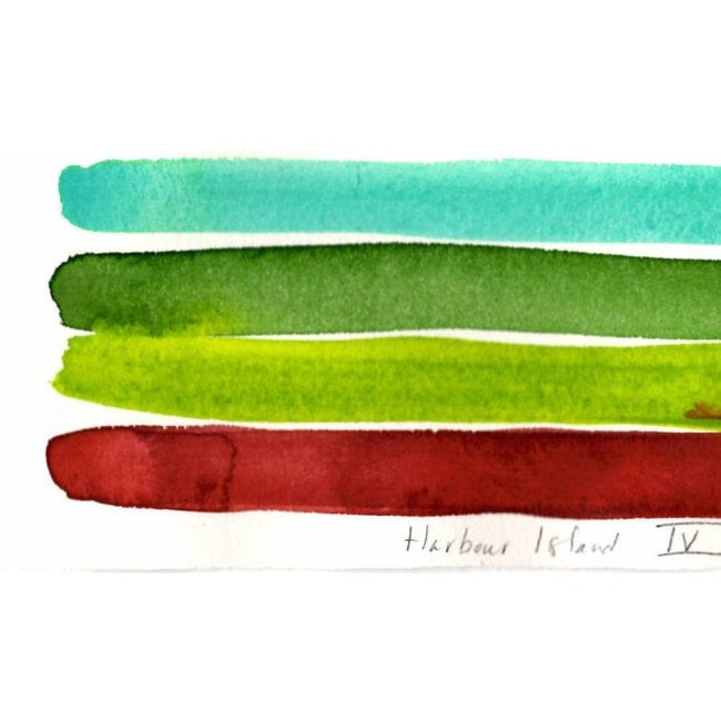 close up detail of a harbour island watercolor color study with a turquoise, darker green, yellow green, and deep red stripe with the red strip bleeding into the green and a title inscription at the bottom
