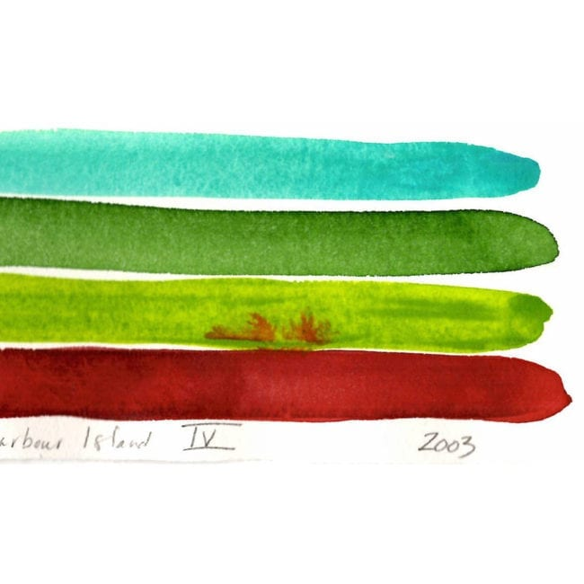 close up detail of a harbour island watercolor color study with a turquoise, darker green, yellow green, and deep red stripe with the red strip bleeding into the green and a title and year inscription at the bottom