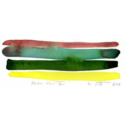 harbour island watercolor painting with a brown, green, dark green, and bright yellow stripes with the green strips bleeding together and into the brown stripe