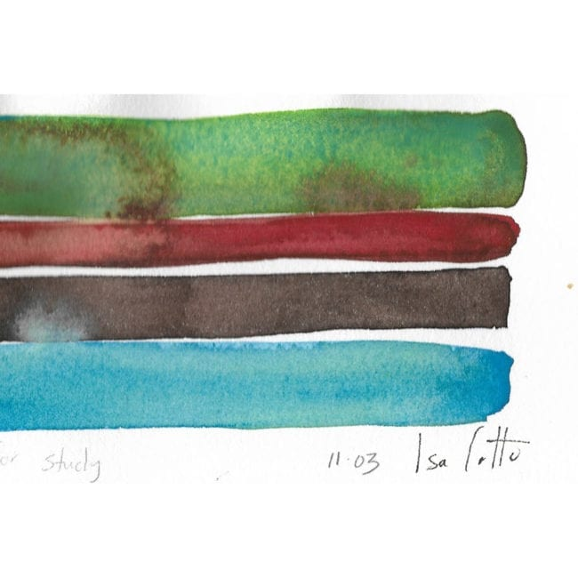 close up of the watercolor painting sanctuary series color study with a dark green, dark red, black brown, and sky blue horizontal stripes with the green stripe blotched with red and the artist's signature at the bottom