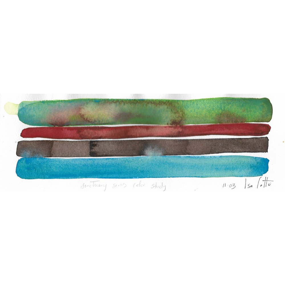 watercolor painting sanctuary series color study with a dark green, dark red, black brown, and sky blue horizontal stripes with the green stripe blotched with red