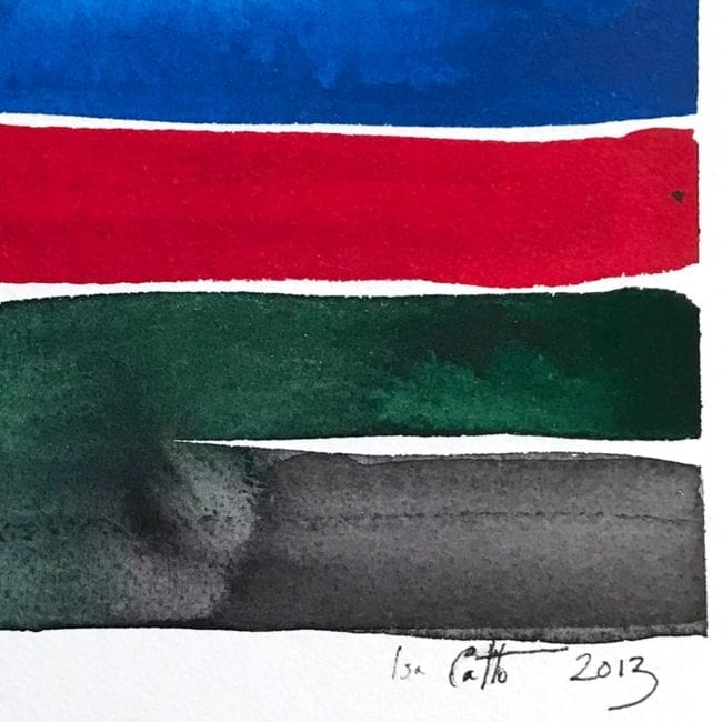 close up of the watercolor color study with a deep blue, bright red, dark green, and dark gray horizontal stripes with the green stripe bleeding into the gray and the artist's signature at the bottom