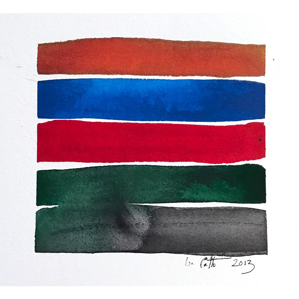 watercolor color study with a dark orange, deep blue, bright red, dark green, and dark gray horizontal stripes with the green stripe bleeding into the gray