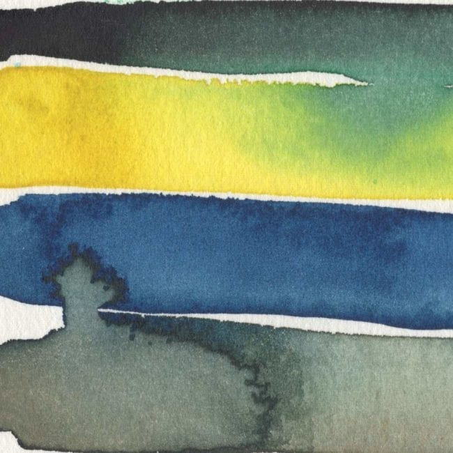 watercolor strips showing gray and blue bleed, as well as green yellow bleed