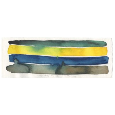 four watercolor strips that are green gray, yellow, blue, and gray