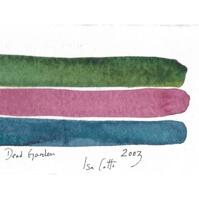 close up of the watercolor color study with a dark green, dusty pink, and subtle blue horizontal stripes and the artist's signature as well as the title of the piece inscribed underneath