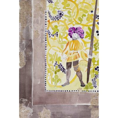 medieval guard with purple hat standing with a pike in front of yellow floral background