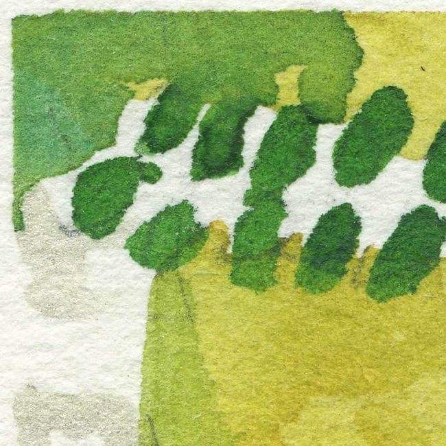 extreme close up of the garden watercolor painting with a yellow green background, and green, blue and white vines and leafs
