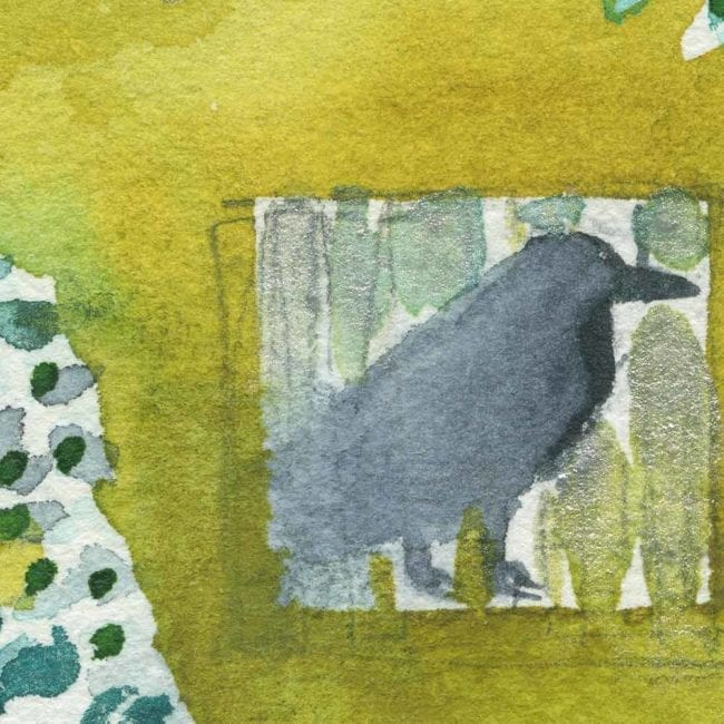 garden watercolor painting with a yellow green background, a dark gray crow, and green, blue and white vines and leafs