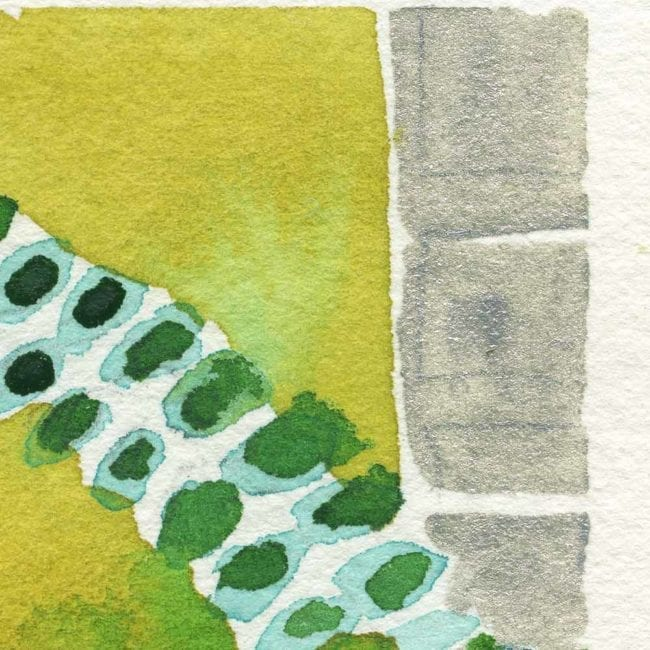 close up of the garden watercolor painting with silver gray stones, a yellow green background, and green, blue and white vines and leafs