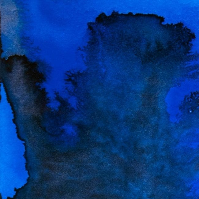 detail of blue and black watercolor of plume of dust from fallen world trade center