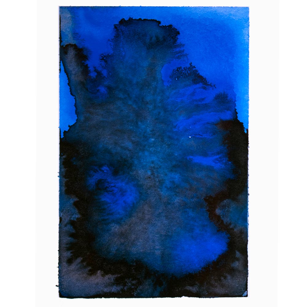 blue and black watercolor with spreading pigment that looks like a plume of smok