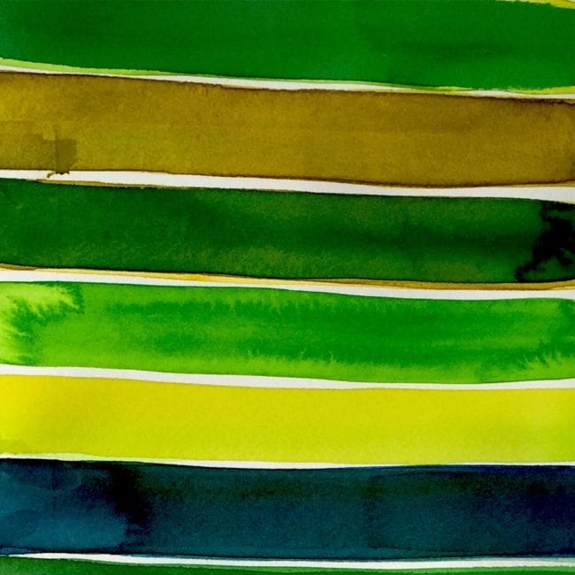 detail of green, brown, yellow, and black horizontal stripes