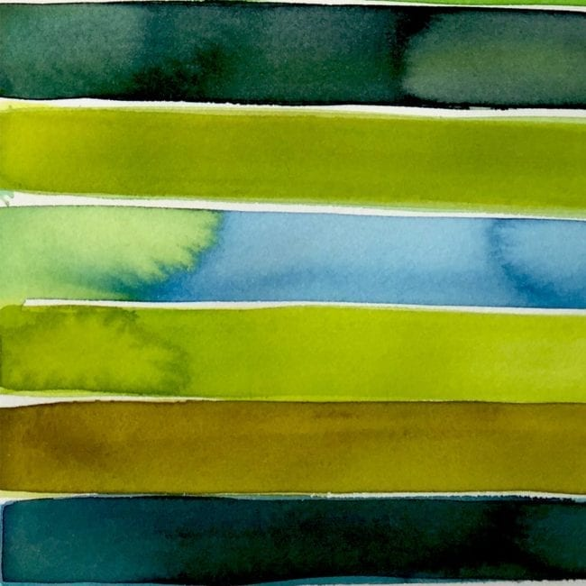 detail of blue and green watercolor strips bleeding into each other