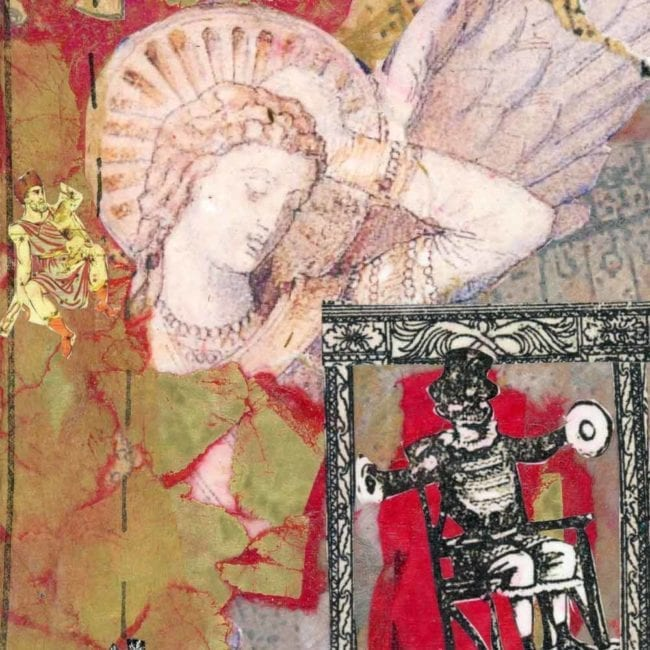 close up of a red and gold collage showing an image of a marble statue of an angel and an illustration of a man sitting in a chair