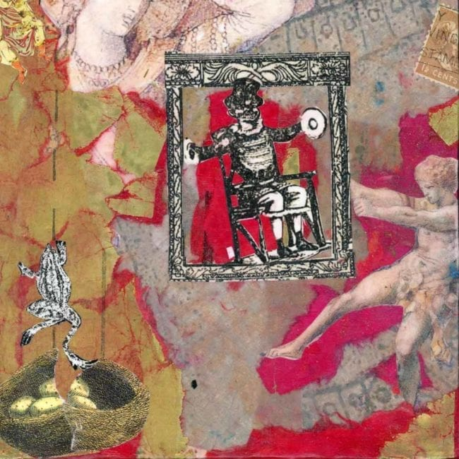 close up of a red and gold collage with an image of a frog, a nest, a marble statue, and an illustration of a man in a chair