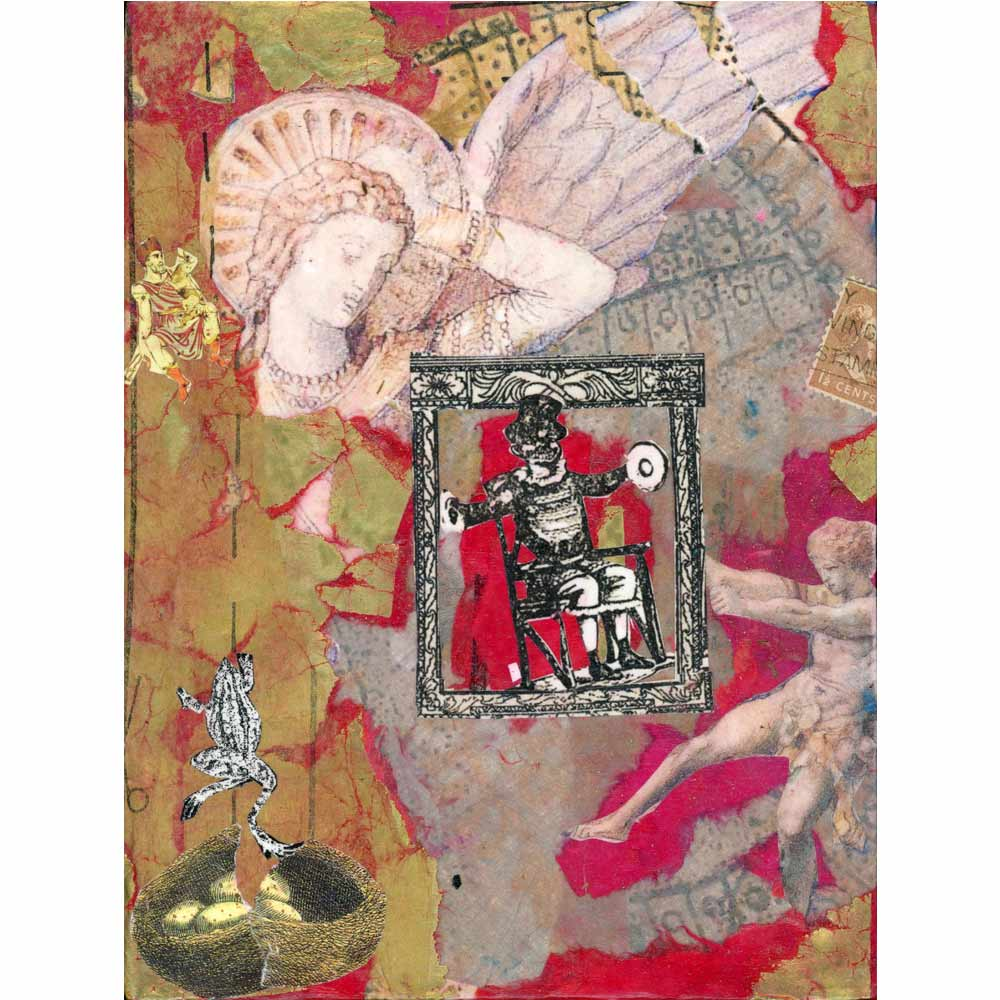 red and gold collage with images of angels, frogs, and other human figures