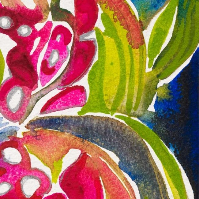close up of a watercolor painting depicting green, bright pink, green, yellow, and dark blue abstracted leaves and flowers in a dying garden