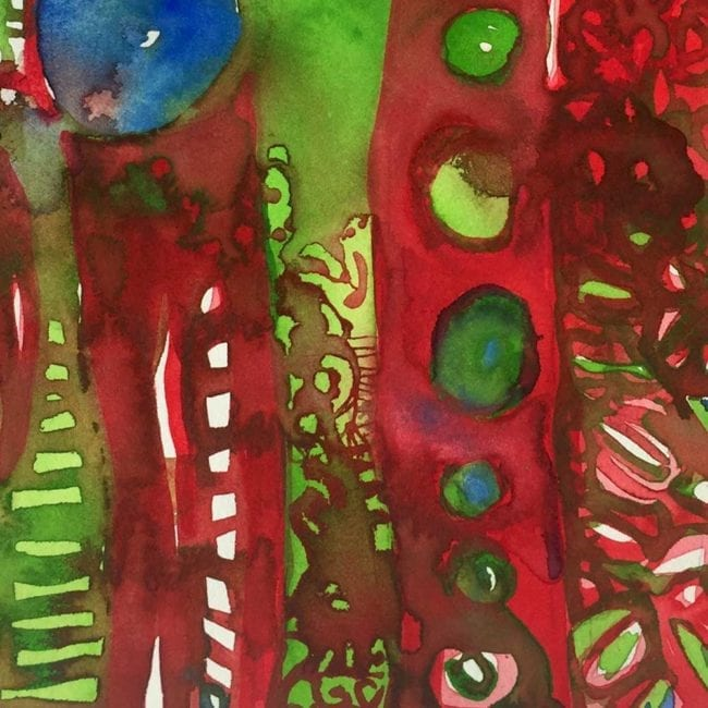 close up of a red, green, and blue watercolor painting depicting fire on a mountain through circles, short parallel lines, and organic leaf-like ovals
