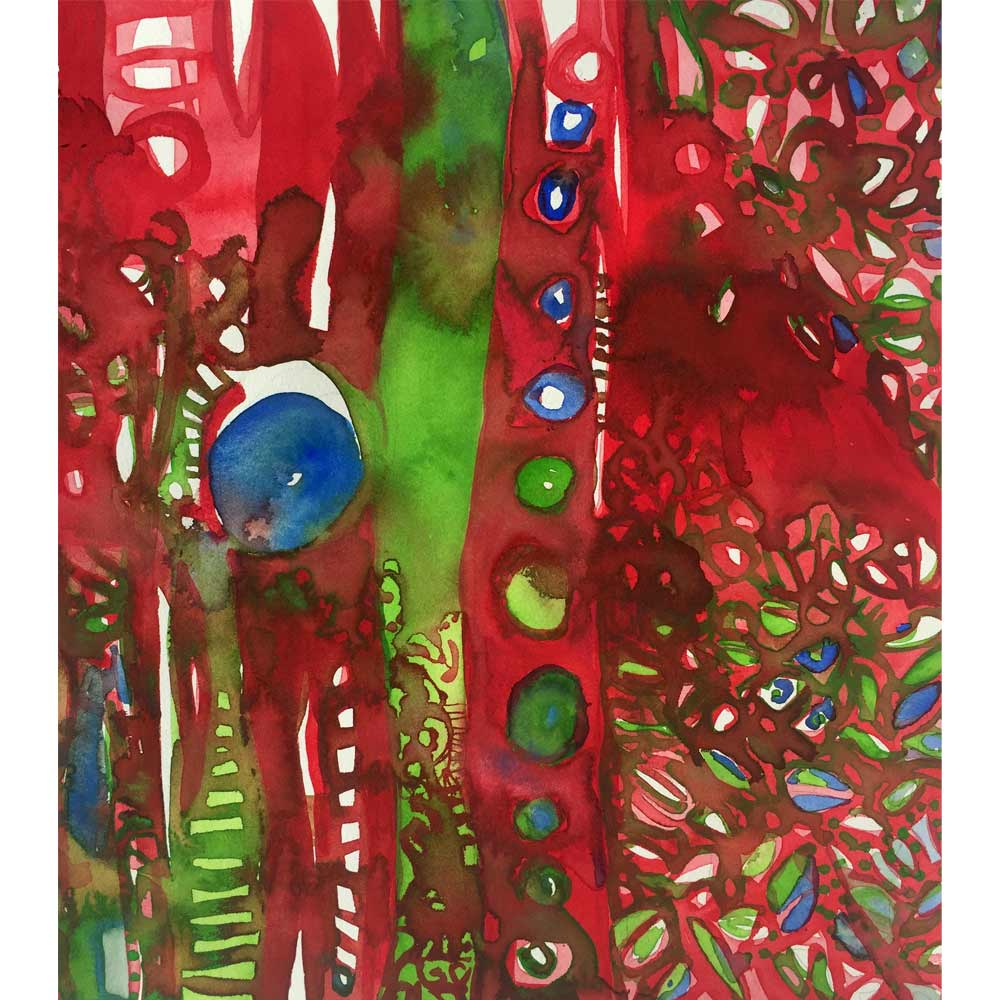 red and green abstract watercolor painting depicting fire on a mountain with complex geometric patterns including lines and circles
