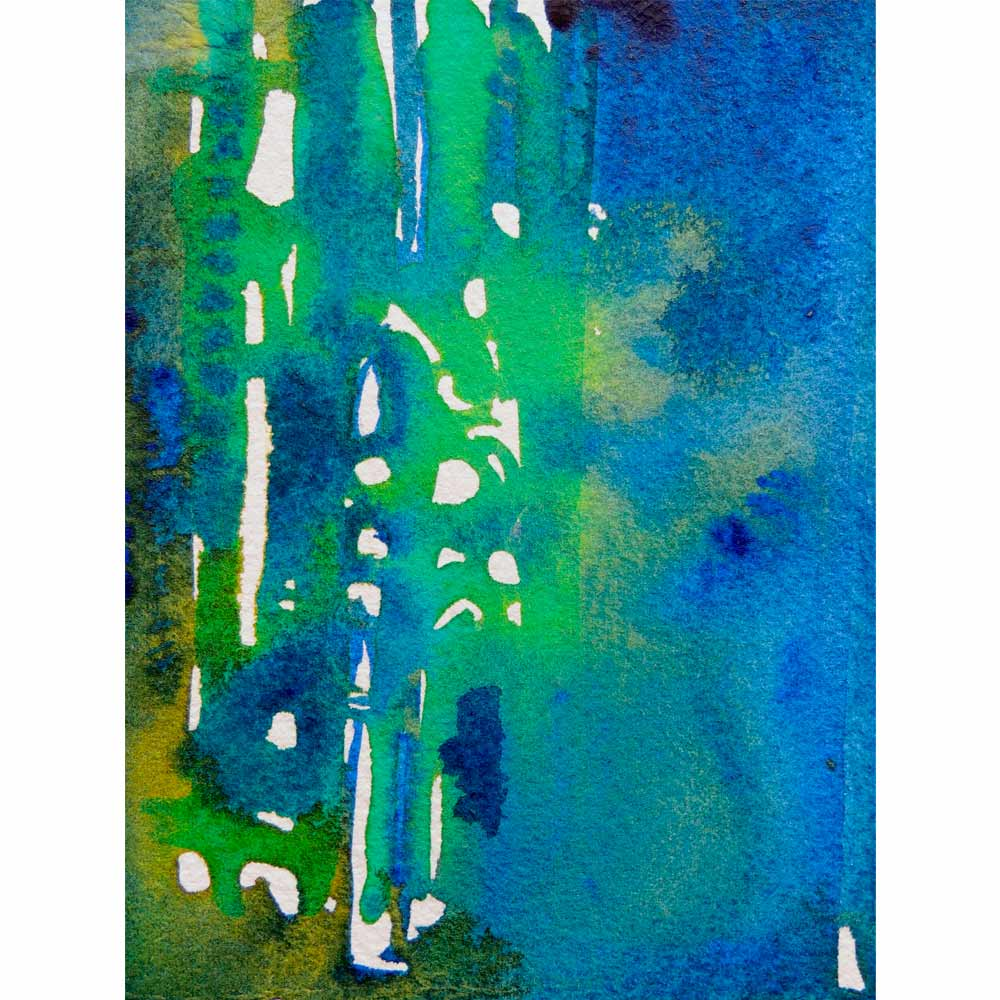 green, yellow, and blue abstract watercolor painting with loose, geometric brushstrokes and wet blending of colors