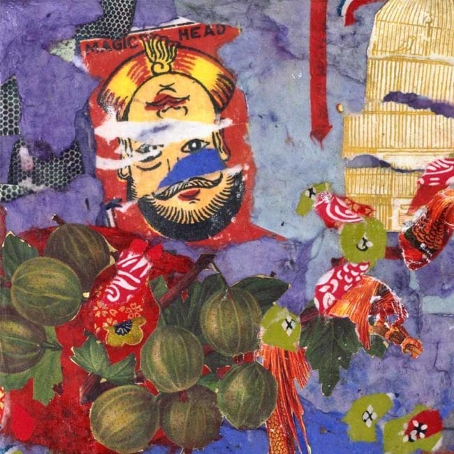 genie mixed media collage with torn purple, red, and dark green paper as well as an upside down illustration of a face, a torn birdcage, and green botanical fruit illusrations