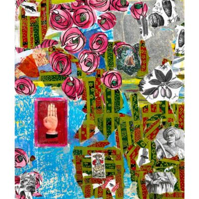 "handyman collage with torn pink, blue, green, and grey paper with the image of the lotería card ""la mano"" and pink illustrated roses"