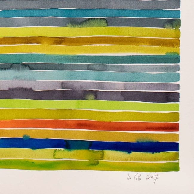 close up of a watercolor painting with many thin yellow, green, blue, purple, and orange horizontal stripes with some of the colors bleeding into other stripes and the artist's signature at the bottom right