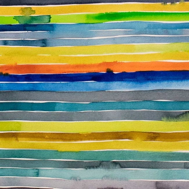 close up of a watercolor painting with many thin yellow, green, blue, purple, and orange horizontal stripes with some of the colors bleeding into other stripes