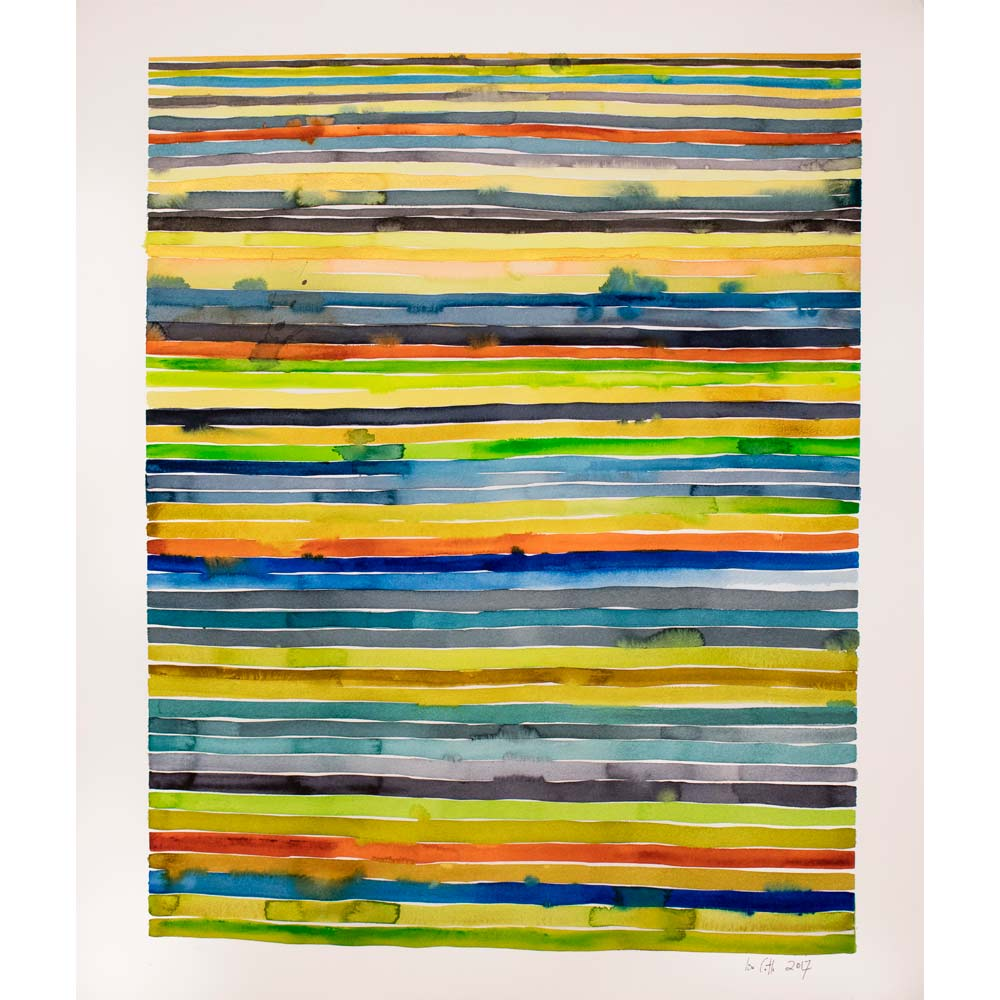 watercolor painting with many thin yellow, green, blue, purple, and orange horizontal stripes with some of the colors bleeding into other stripes and the artist's signature at the bottom right