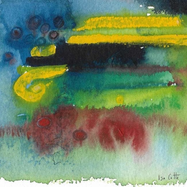 close up of the lighting abstract blue, green, yellow, and red watercolor painting with the artist's signature at the bottom right