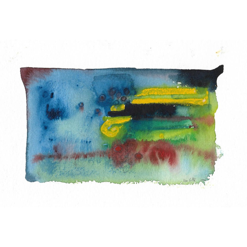 lighting abstract blue, green, yellow, and red watercolor painting