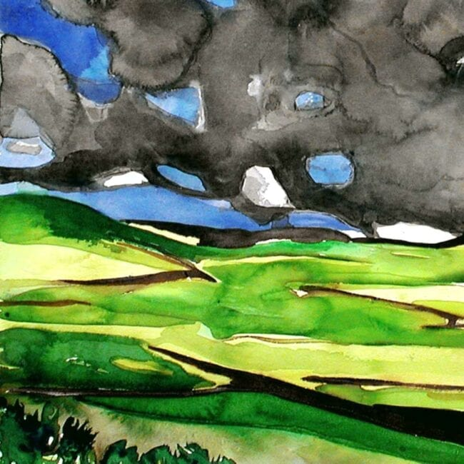 close up of a watercolor painting of meknes in morocco showing green agricultural fields and blotchy watercolor clouds