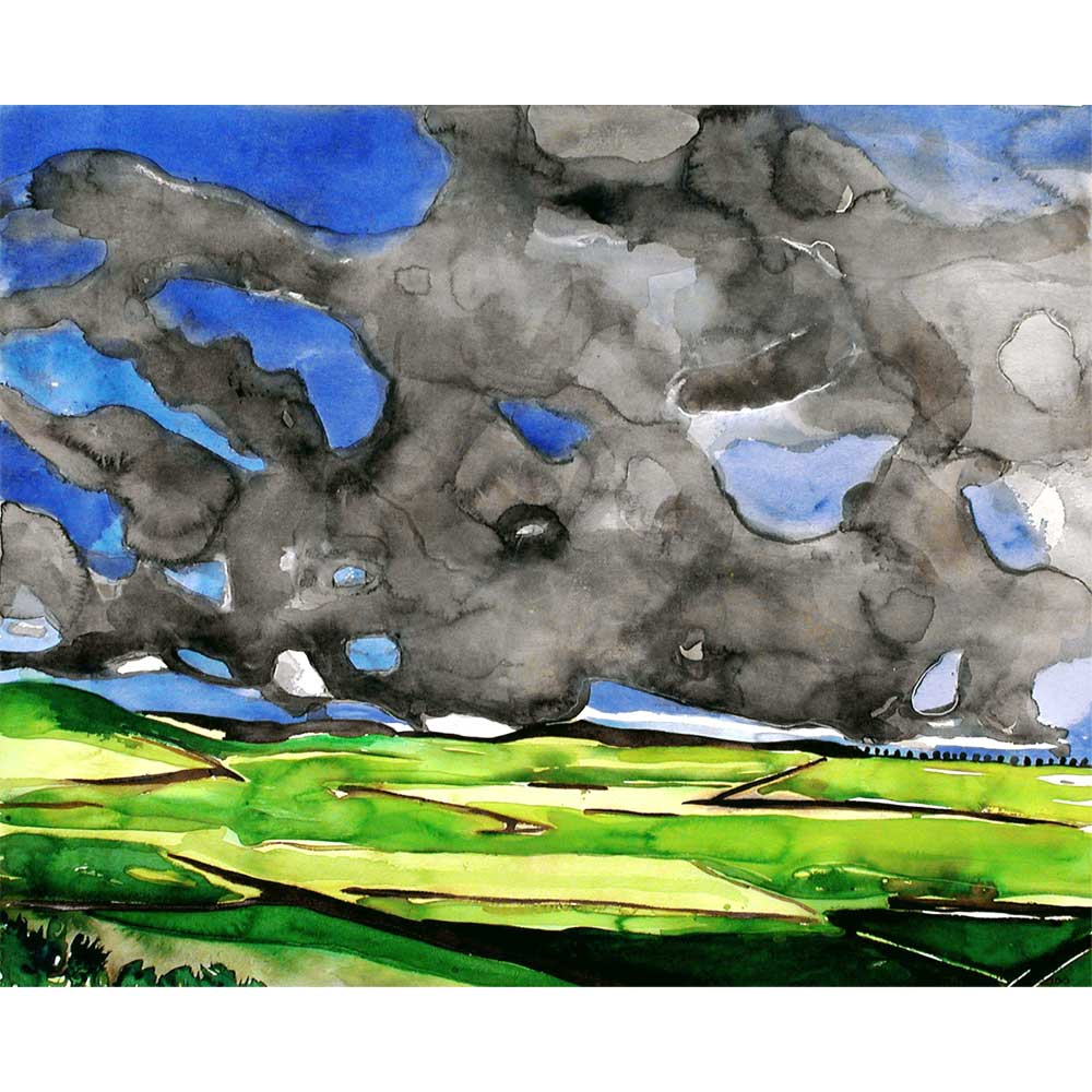 watercolor painting of meknes in morocco showing green agricultural fields and blue and gray blotchy watercolor clouds